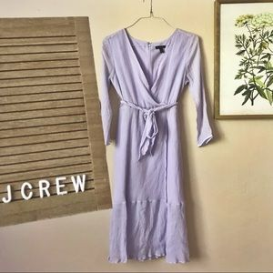 J Crew Lavender Midi Wrap Dress